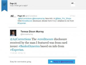 Twitter message:  848 credit score disclosure was from Bank of America